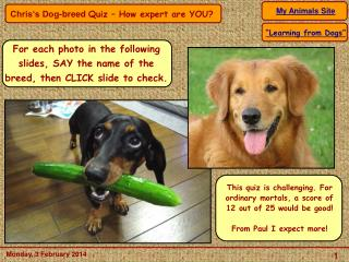 For each photo in the following  slides, SAY the name of the breed, then CLICK slide to check.