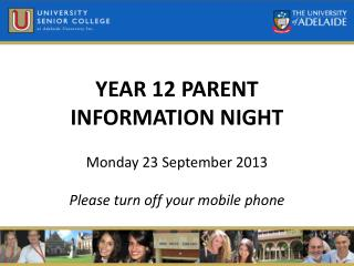YEAR 12 PARENT  INFORMATION NIGHT