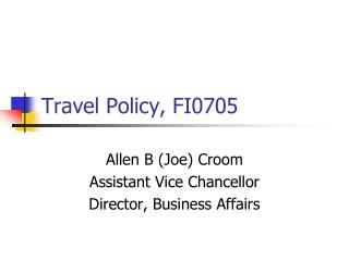 Travel Policy, FI0705