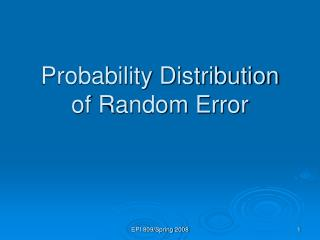 Probability Distribution  of Random Error