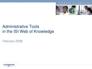 Administrative Tools  in the ISI Web of Knowledge