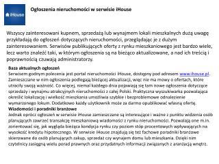 iHouse.pl - serwis z nieruchomościami