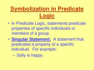 Symbolization in Predicate Logic