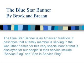 The Blue Star Banner By Brook and Breann