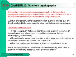 CHAPTER  15 : Quantum cryptography