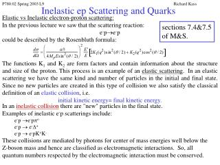 Inelastic ep Scattering and Quarks