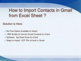 How to Import Contacts in Gmail from Excel Spreadsheet