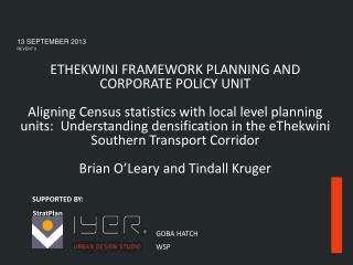 ETHEKWINI FRAMEWORK PLANNING AND  CORPORATE POLICY UNIT