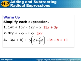 Warm Up Simplify each expression. 1. 14 x + 15 y – 12 y + x 2. 9 xy + 2 xy – 8 xy