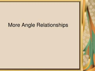 More Angle Relationships