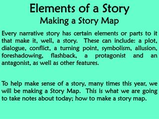 Elements of a Story Making a Story Map