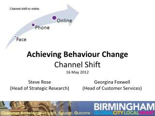 Achieving Behaviour Change Channel Shift 16 May 2012