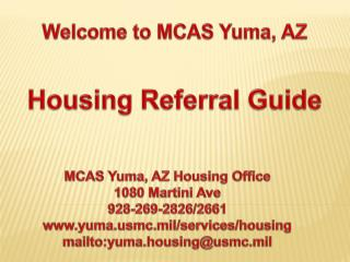 Welcome to MCAS Yuma, AZ