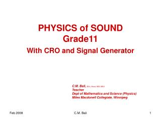 PHYSICS of SOUND Grade11
