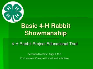 Basic 4-H Rabbit Showmanship