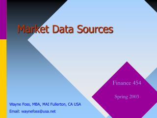 Market Data Sources