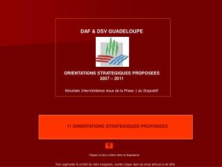 DAF & DSV GUADELOUPE ORIENTATIONS STRATEGIQUES PROPOSEES 2007 – 2011