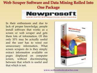 Web Scraper Software and Data Mining Rolled Into One Package