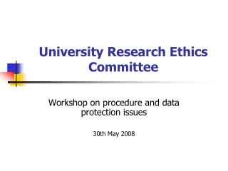 University Research Ethics Committee