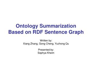 Ontology Summarization Based on RDF Sentence Graph