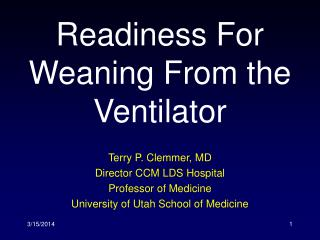 Readiness For Weaning From the Ventilator