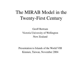 The MIRAB Model in the Twenty-First Century