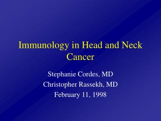 Immunology in Head and Neck Cancer