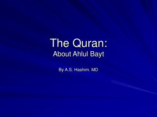 The Quran: About Ahlul Bayt