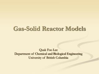 Gas-Solid Reactor Models