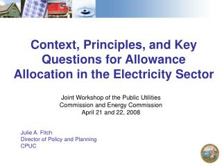 Context, Principles, and Key Questions for Allowance Allocation in the Electricity Sector
