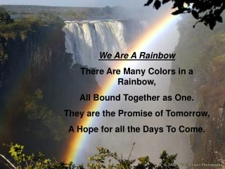 We Are A Rainbow  There Are Many Colors in a Rainbow, All Bound Together as One. They are the Promise of Tomorrow, A Hop
