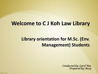 Library orientation for M.Sc. (Env. Management) Students