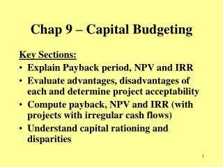 Chap 9 – Capital Budgeting