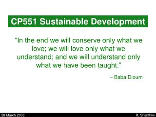 CP551 Sustainable Development