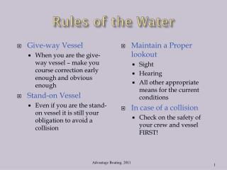 Rules of the Water