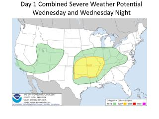 Day 1 Combined Severe Weather Potential Wednesday and Wednesday Night Tornado, Wind, and Hail