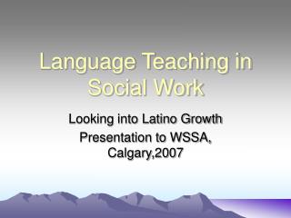 Language Teaching in Social Work