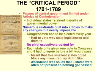 THE  CRITICAL PERIOD  1781-1789
