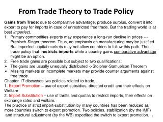From Trade Theory to Trade Policy