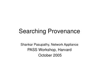 Searching Provenance