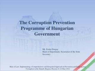 The  Corruption Prevention Programme  of  Hungarian Government