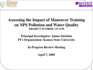 Assessing the Impact of Maneuver Training on NPS Pollution and Water Quality