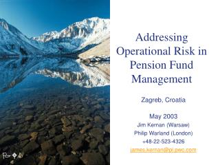 Addressing Operational Risk in Pension Fund Management