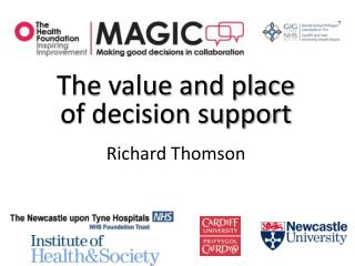 The value and place of decision support Richard Thomson