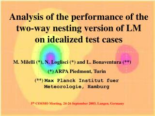 Analysis of the performance of the two-way nesting version of LM on idealized test cases