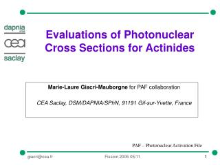 Evaluations of Photonuclear Cross Sections for Actinides