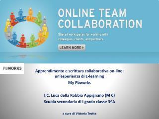 Apprendimento e scrittura collaborativa on-line: un'esperienza di E-learning My Pbworks