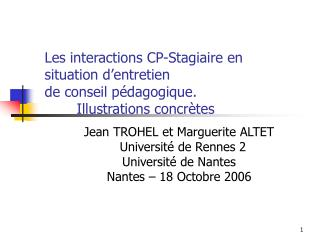 Jean TROHEL et Marguerite ALTET    Université de Rennes 2 Université de Nantes