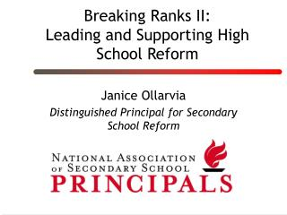 Breaking Ranks II: Leading and Supporting High School Reform