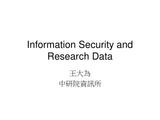 Information Security and Research Data